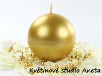 Svíce koule zlatá metal 4,5cm...