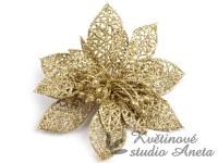 Vánoční hvězda zlatá dekor na skřipci...