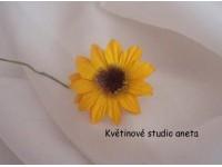 Papírový květ slunečnice na drátku žlutý...