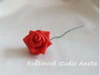 Pěnová růžička na drátku červená...