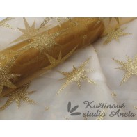 Organza vánoční zlatá ZBYTEK 36x190cm ...