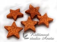 Hvězda gliter 4cm oranžová...