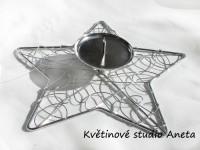 Adventní svícen hvězda kov stříbrná...