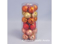 Koule vánoční plast  24ks oranžový mix 4cm...
