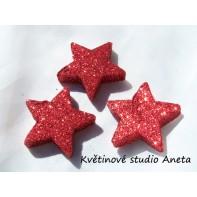 Hvězda gliter červená 5cm ...