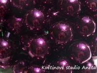 Baňka sklo fialovo vínová lesk na drátku 2cm...