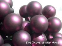 Baňka sklo fialovo vínová matná na drátku 2cm...