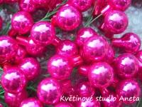Vánoční baňka sklo růžové lesklé tm. 2cm...