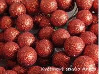 Vánoční kouličky třpyt červené cihlově...