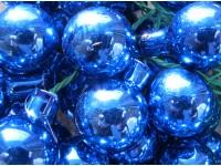 Vánoční  baňka sklo modrá lesk na drátku 25...