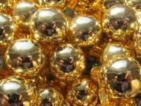 Baňka sklo zlatá lesklá 25...