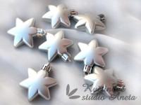 Vánoční hvězdička plast stříbrná mat...