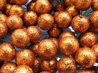 Vánoční kouličky třpyt oranžové...
