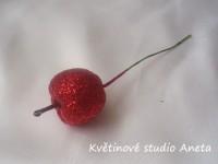 Jablíčko třpyt na drátku červené 3,5cm...