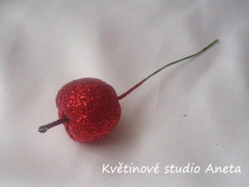 Jablíčko třpyt na drátku červené 3,5cm