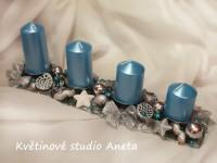 Adventní svícen kov tyrkysový*