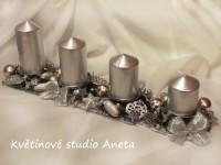 Adventní svícen kov stříbrný*