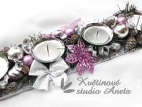 Adventní svícen kov růžový s květem*