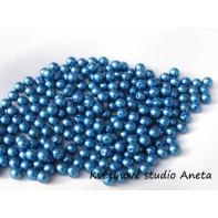 Korálky 8mm tmavě modré 144ks ...