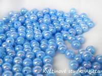 Korálky 6mm/100ks modré s perletí...
