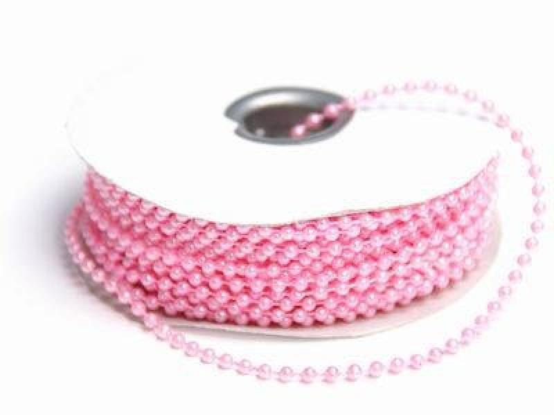 Korálky plastové na šňůře růžové 3mm