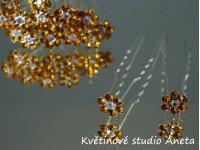 Vlásenka květinka štrasová zlatá...