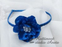 Čelenka s květinou modrá královsky...