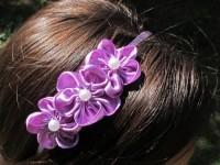 Čelenka s květinou fialová 3 květy...