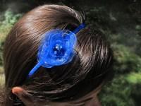 Čelenka s květinou modrá královsky šifonová...