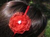Čelenka s květinou šifonová červená...