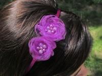 Čelenka se šifonovými květy fialová...